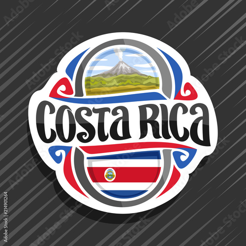 Fotografia, Obraz Vector logo for Costa Rica country, fridge magnet with state flag, original brush typeface for words costa rica and national  symbol - erupting Arenal Volcano in jungle on blue cloudy sky background