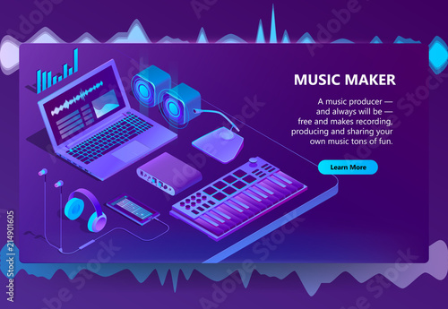 Vector 3d isometric template for site construction  Violet