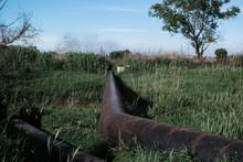 Rusty Steel Pipelines In Grass...
