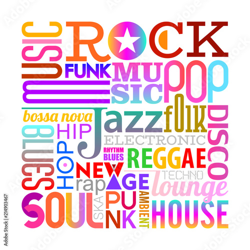 Staande foto Abstractie Art Music Styles text design on a white