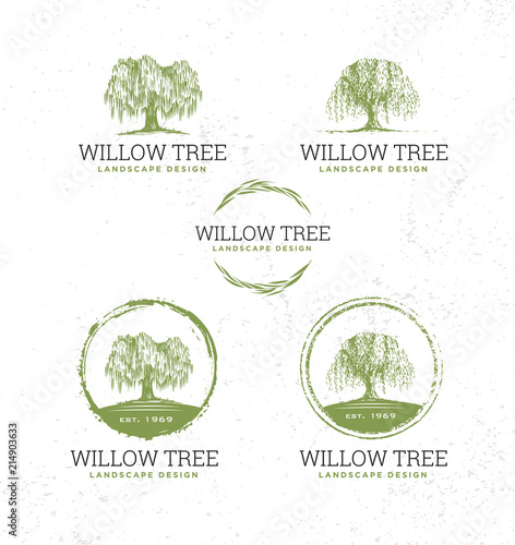 Fotografie, Tablou Willow Tree Landscape Design Creative Vector Nature Friendly Sign Concept
