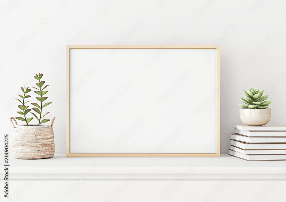 Fototapeta Home interior poster mock up with horizontal metal frame, succulents in basket and pile of books on white wall background. 3D rendering.