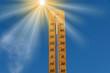 canvas print picture - Ein Thermometer zeigt hohe Temperatur bei einer Hitzewelle