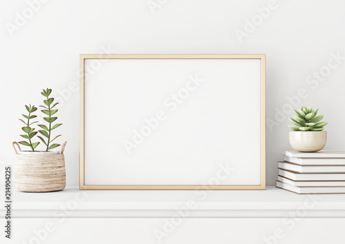 Fototapeta Home interior poster mock up with horizontal metal frame, succulents in basket and pile of books on white wall background. 3D rendering. obraz