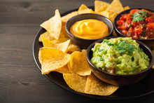 Mexican Nachos Tortilla Chips With Guacamole, Salsa And Cheese Dip