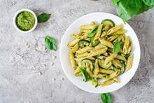 Penne Pasta With  Pesto Sauce,...