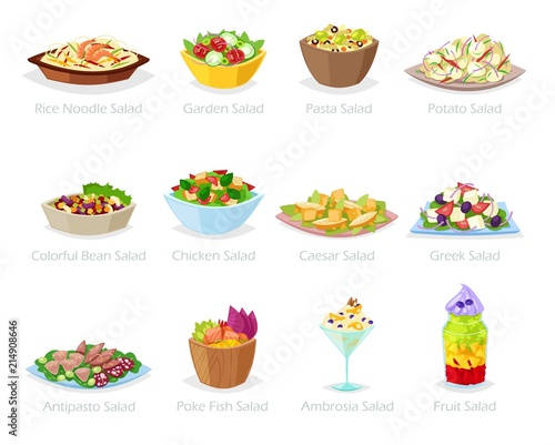 Canvas Print Salad vector healthy food with fresh vegetables tomato or potato in salad-bowl o