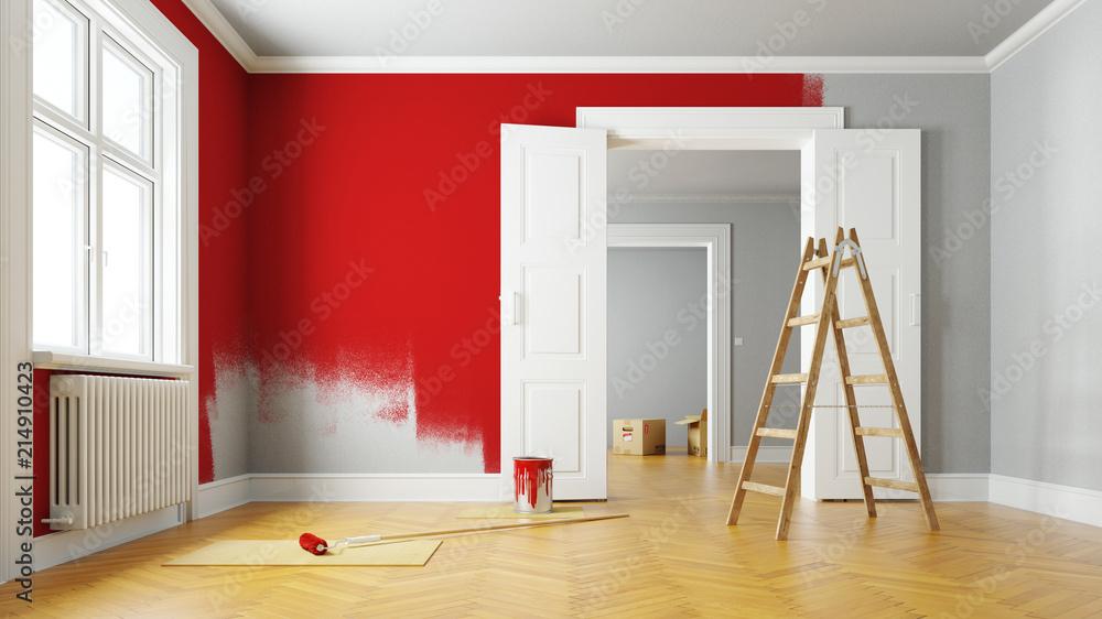 Fototapety, obrazy: Wand rot streichen bei Renovierung im Raum