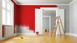 canvas print picture - Wand rot streichen bei Renovierung im Raum
