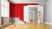 Wand Rot Streichen Bei Renovie...
