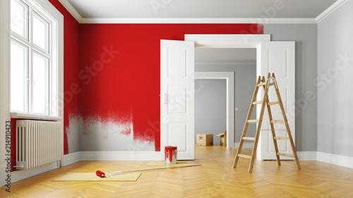 Obraz Wand rot streichen bei Renovierung im Raum - fototapety do salonu