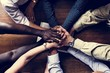 Support diverse hands together teamwork aerial view