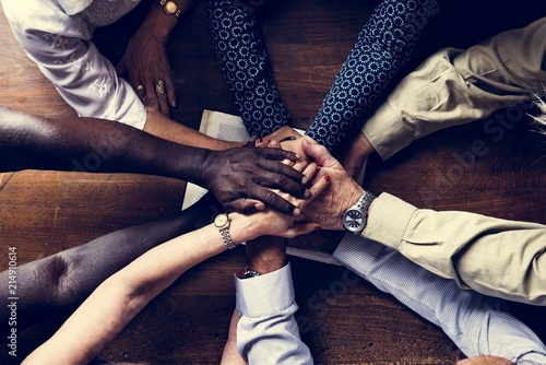 Support diverse hands together teamwork aerial view Fototapet