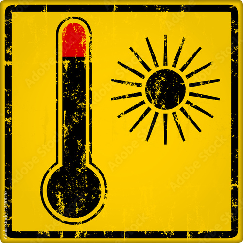 Photo Heat warning sign with thermometer, grungy style vector illustration