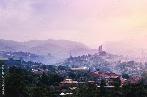 Landmark of Bandung From Dago Hill/Mountain at Sunrise on Misty and Fog Morning Poster
