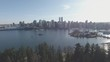A drone panorama of the beautiful city of Vancouver from the perspective of Stanley Park.