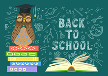 Back To School. Wise Owl On St...