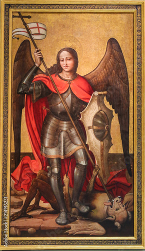 Saint Michael the Archangel slaying Satan Fotobehang