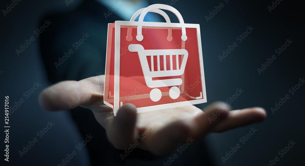 Fototapeta Businessman using digital shopping icons 3D rendering