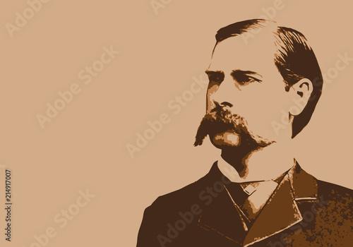 Fotografie, Obraz Wyatt Earp - portrait - Marshall - personnage - historique - célèbre - Chasseur