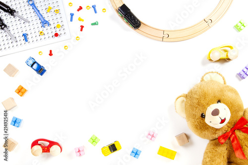 Kids Toys Background With Teddy Bear Toy Train Cars And Colorful