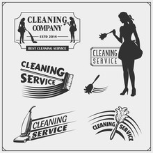 Set Of Cleaning Service Emblems With Beautiful Young Maid. Clining Badges, Labels And Design Elements. Vintage Style.