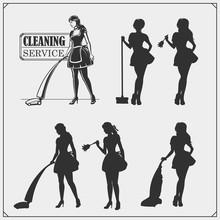 Set Of Cleaning Service Emblem...