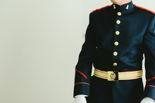 Military Soldier Wearing His Dress Uniform