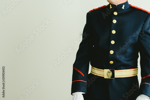 Leinwand Poster Military soldier wearing his dress uniform