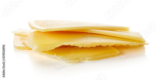Cheese slice isolated on white
