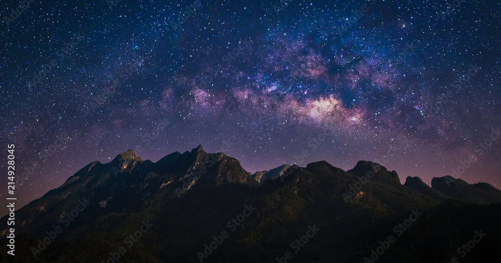 Fototapety, obrazy: Night view of nature mountain with universe space of milky way galaxy and stars on sky