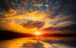 nice sunset on lake