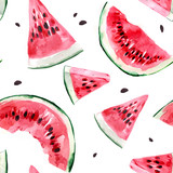 Seamless pattern with watermelon. Watercolor illustration - 214929047
