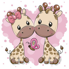 Two Cartoon Giraffes On A Heart Background