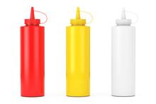 Tomato Ketchup, Mustard And Mayonnaise Sauce Bottles. 3d Rendering
