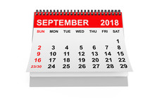 Calendar September 2018. 3d Re...