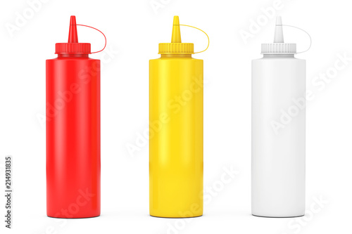 In de dag Kruiderij Tomato Ketchup, Mustard and Mayonnaise Sauce Bottles. 3d Rendering