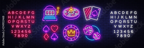 Tableau sur Toile Casino neon collection vector icons