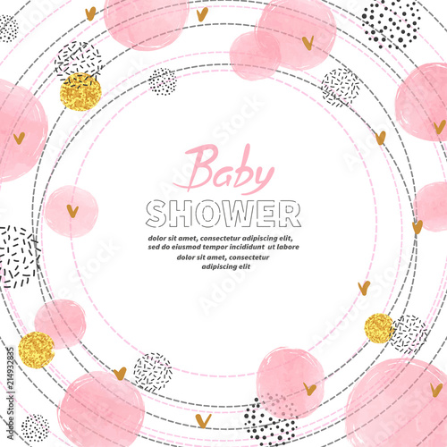 Fototapeta Baby Shower Girl Invitation Card Design With Watercolor Pink Circles