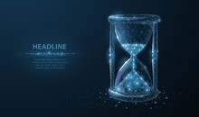 Sandglass. Low Poly Wireframe Sandglass Looks Like Constellation On Dark Blue Background With Dots And Stars.
