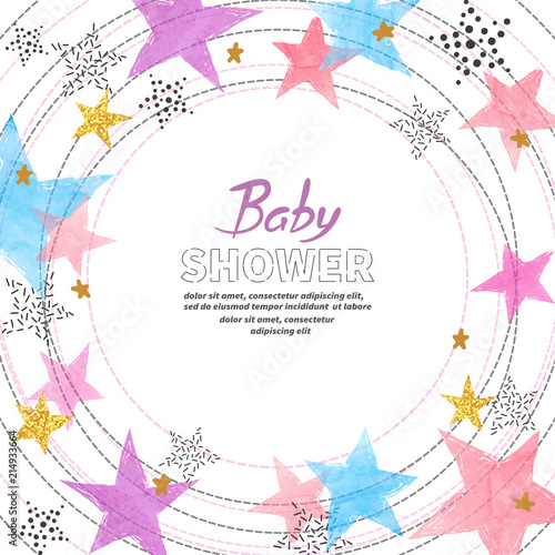 Fototapeta Baby Shower Invitation Card Design With Watercolor Colorful Stars