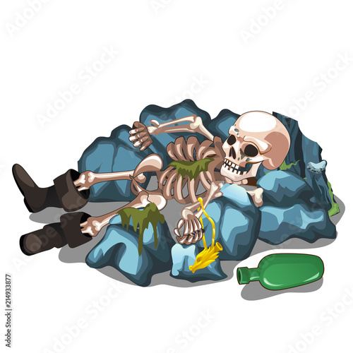 Skeletal corpse of a man lying on the stones isolated on white background Wallpaper Mural