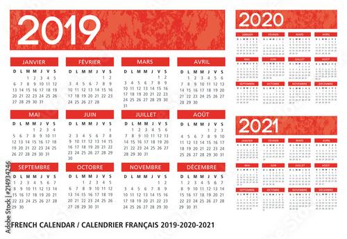 Fényképezés  French language textured calendar 2019-2020-2021