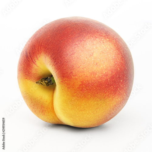 Foto op Aluminium Vruchten Isolated peach. One fresh peach or apricot fruit isolated on white background