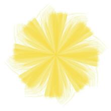 Yellow Watercolor Star Shape Mandala Swirl Pattern On White Background, Vector Illustration