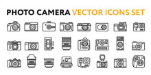 Photo Film Camera Models And Lens. Photography Equipment Concept. Minimal Flat Line Outline Stroke Icon Set.