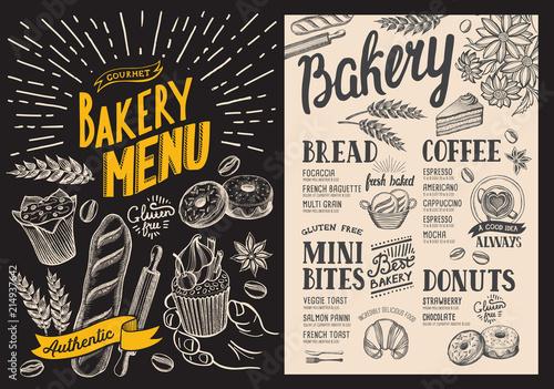 bakery dessert menu for restaurant on chalkboard background design