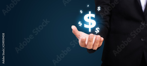 Cuadros en Lienzo dollar icon in the hand of business. dollar concept.