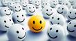 canvas print picture - Gelber Smiley in fröhlicher Gruppe