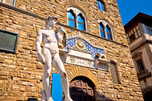 Piazza Della Signoria Statue Of David By Michelangelo And Palazzo Vecchio Of Florence View